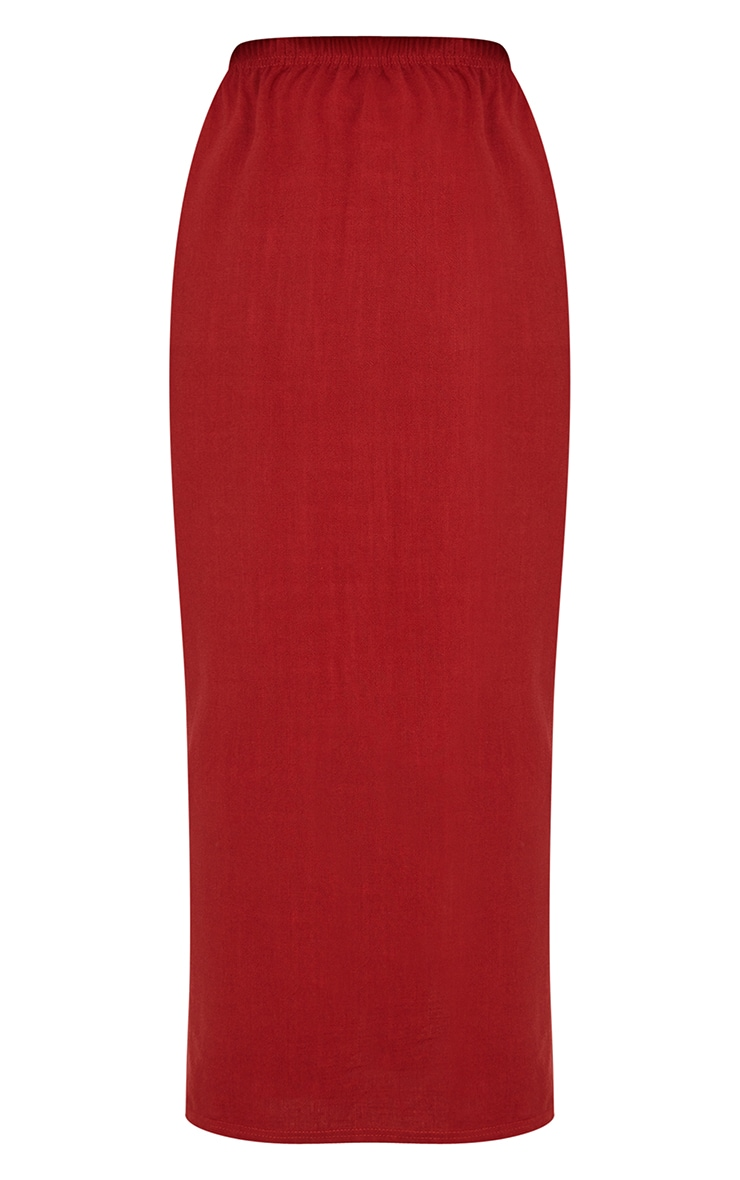 Brick Red Woven Midi Skirt 5