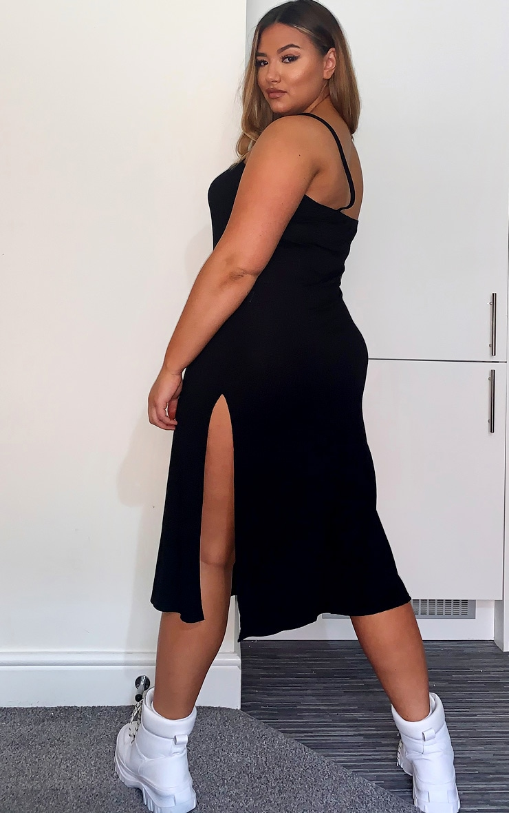 Plus Black Jersey Split Midi Dress 2