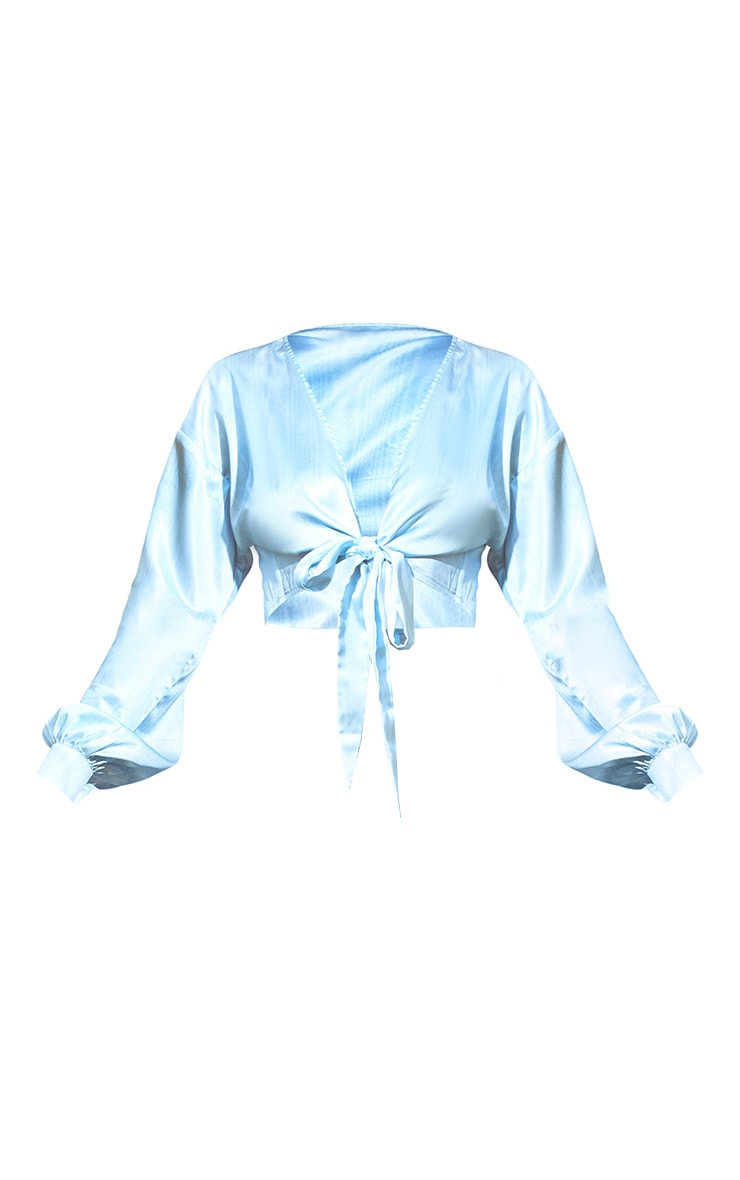 Light Blue Printed Satin Tie Front Blouse 6