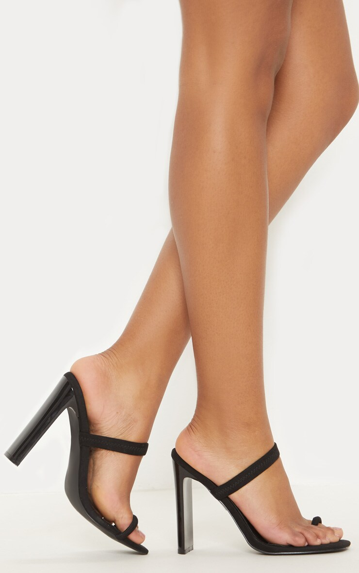 Black Toe Loop Flat Heel Sandal 2