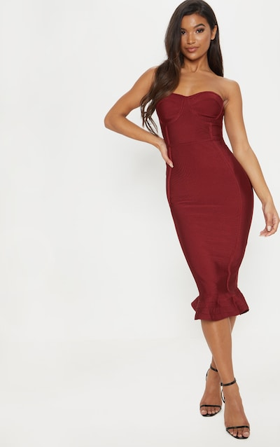 b24ae4c5dca100 Dark Red Bandage Frill Hem Midi Dress