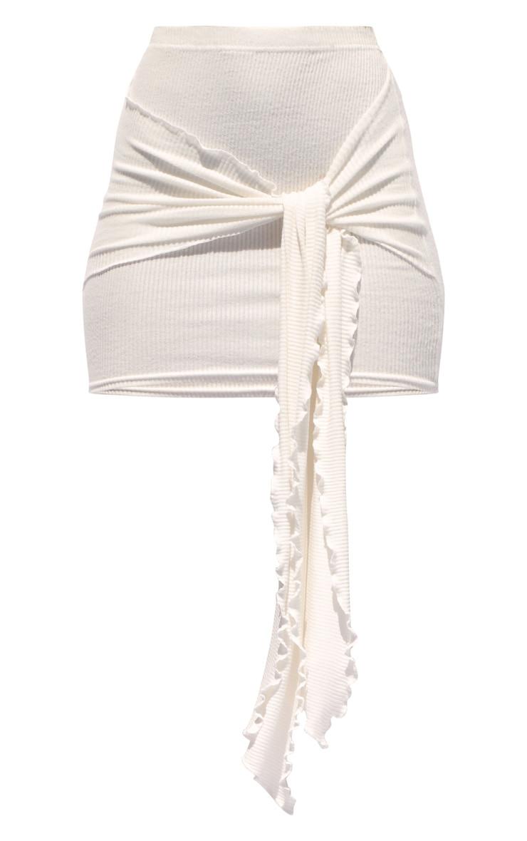 Cream Tie Detail Brushed Rib Mini Skirt 6