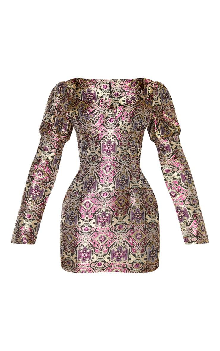 Multi Jacquard Puff Sleeve Bodycon Dress 3