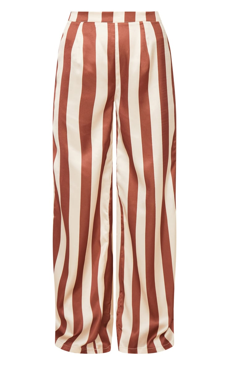 Petite Brown Stripe Wide Leg Pants 3