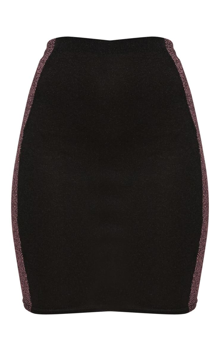 Black Metallic Contrast Panel High Waisted Mini Skirt 3