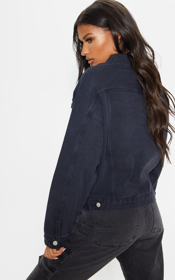 Washed Black Drop Shoulder Oversized Denim Jacket 2