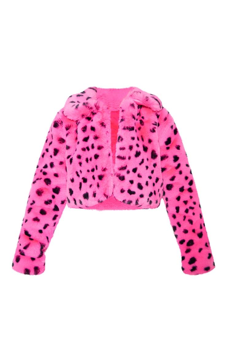 Bright Pink Leopard Faux Fur Crop Jacket 4