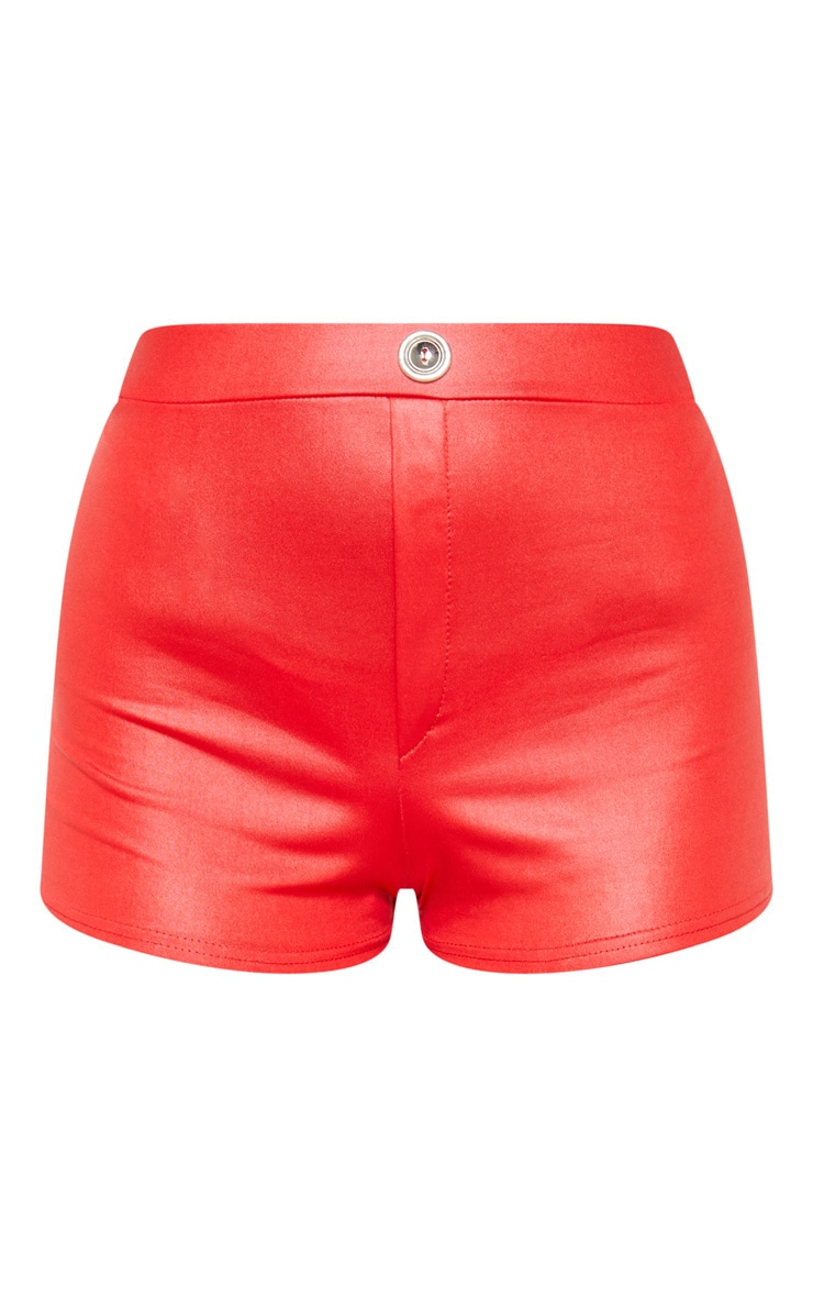 Scarlet Wet Look Button Detail Hot Pants  3