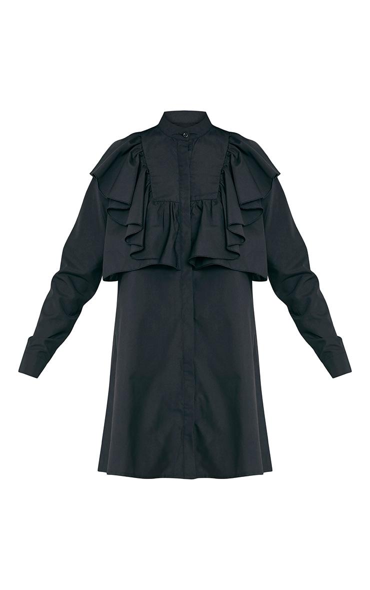 Flora Black Frill Front Shirt Dress 3