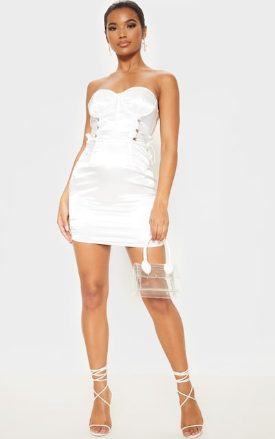 White Bandeau Corset Detail Mesh Insert Satin Bodycon Dress