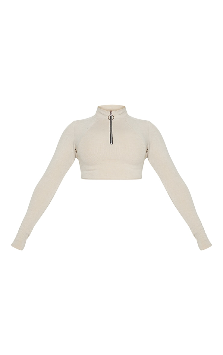 Shape Stone Soft Rib Ring Pull Long Sleeve Crop Top 5