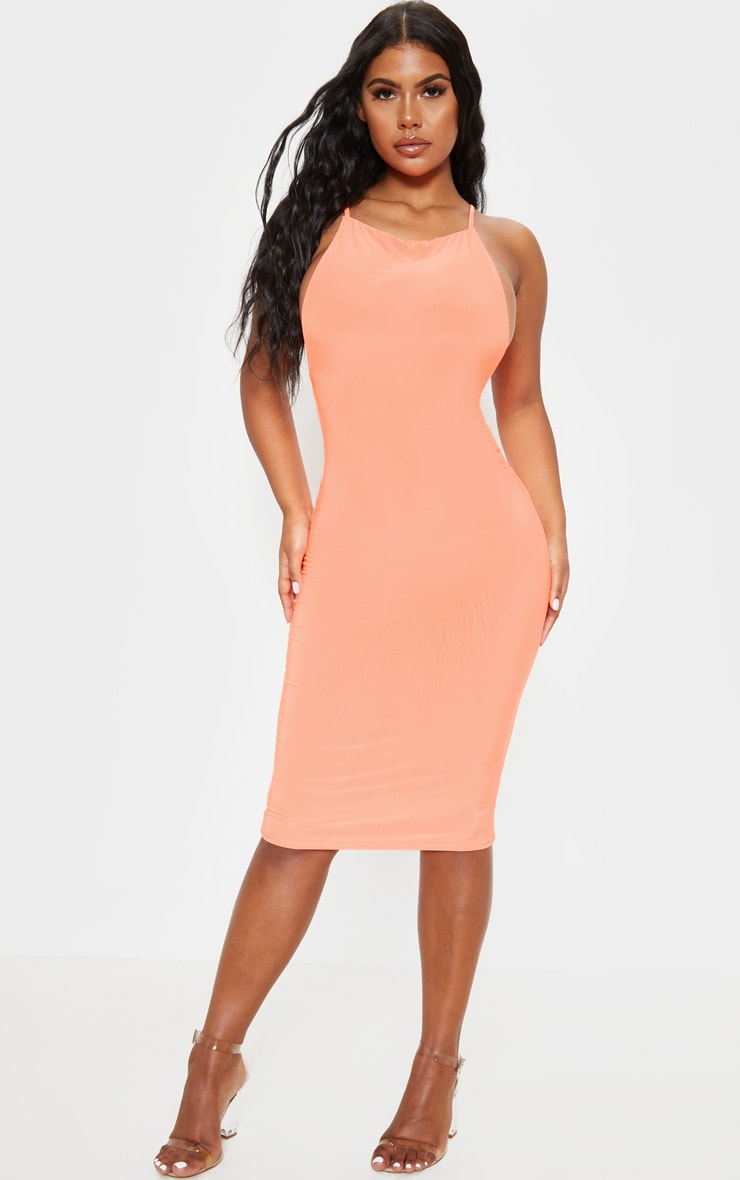 Neon Peach Strappy Slinky Cross Back Midi Dress 2