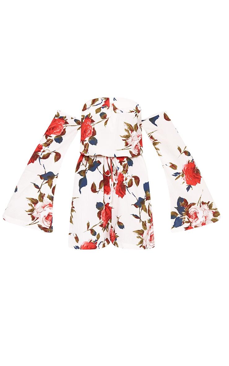 Keeli White Flower Print Bardot Playsuit 3