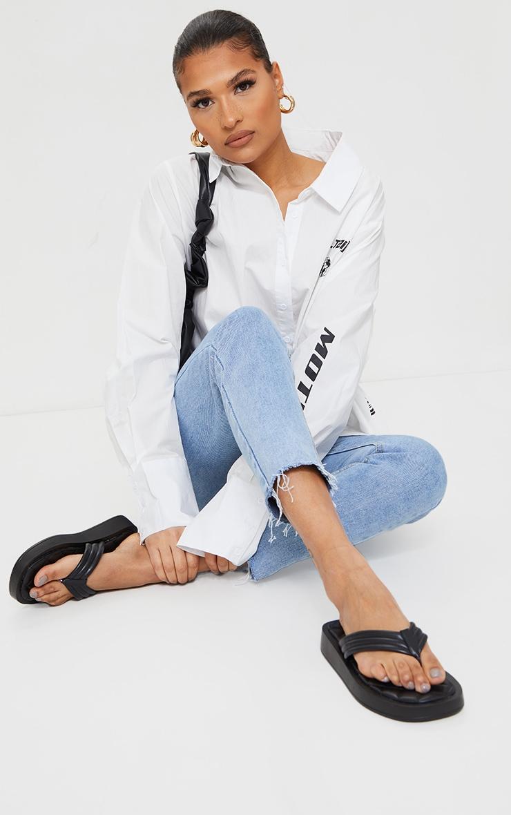 Black Chunky Sandal Quilted Toe Post Flip Flops 2