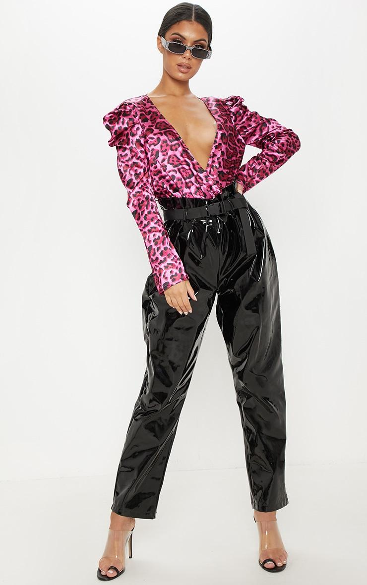 Pink Satin Plunge Leopard Print Bodysuit 5
