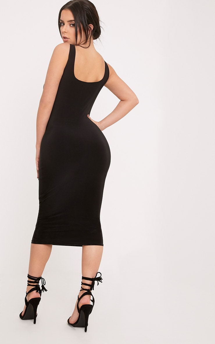 Shape Abrielle Black Slinky Midi Dress  2