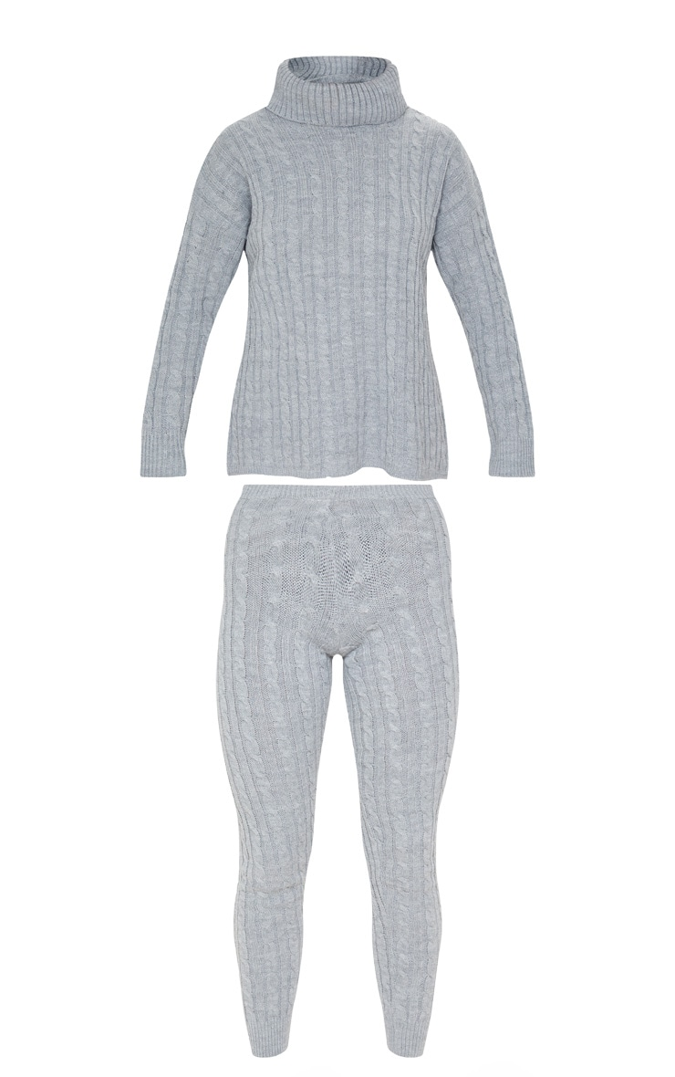 Grey Cable Knit Roll Neck And Legging Set 3