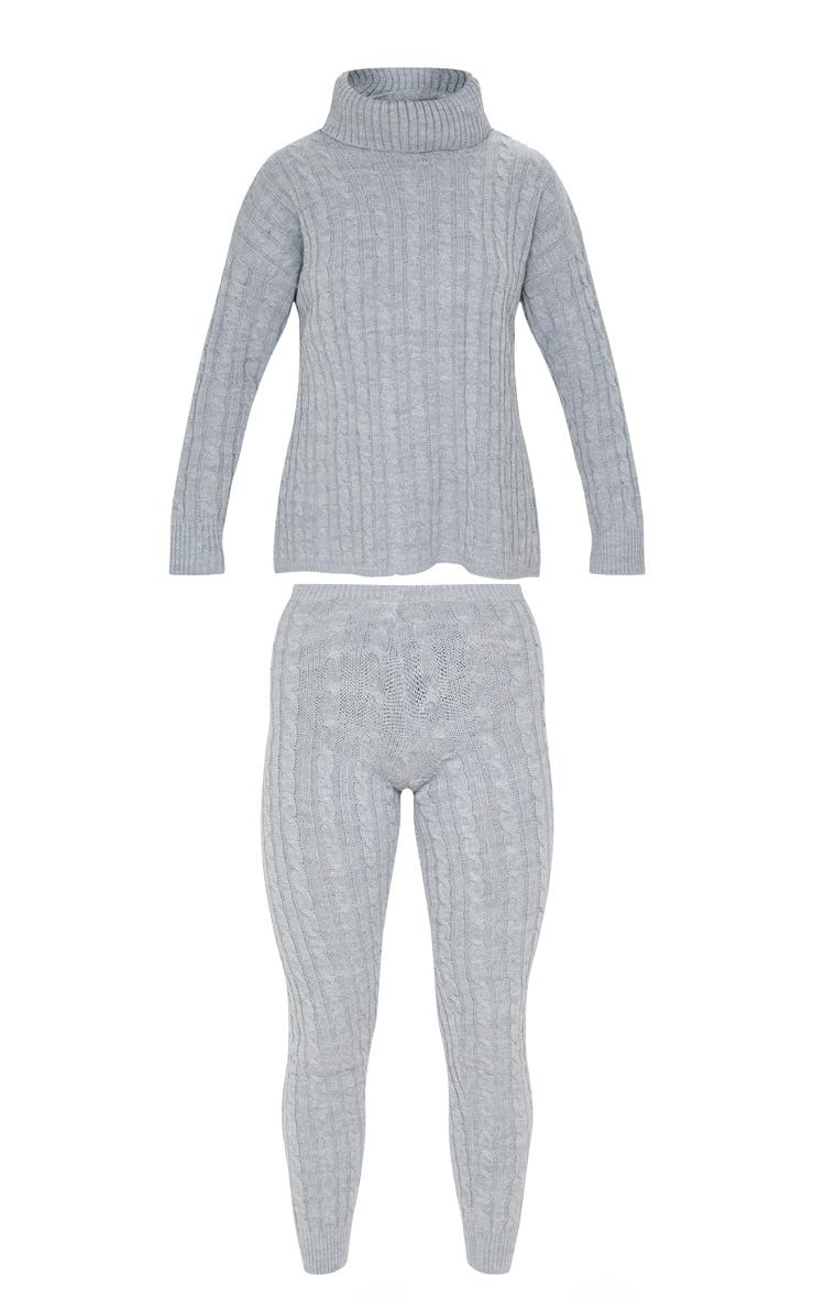 Ensemble pull à col roulé & legging en grosse maille grise 3