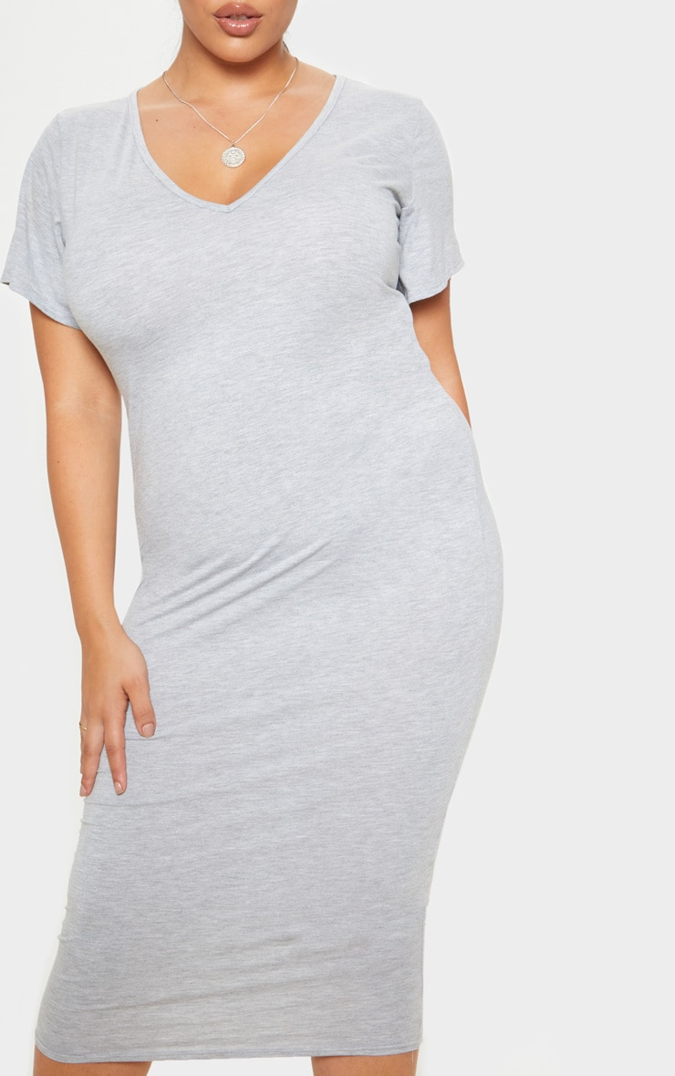 Plus Grey Marl Jersey V Neck T- Shirt Midi Dress 5