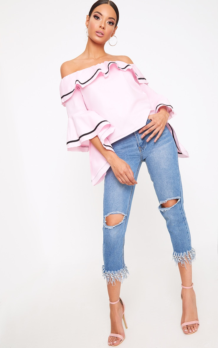 Baby Pink Bardot Contrast Piping Frill Sleeve Shirt 4