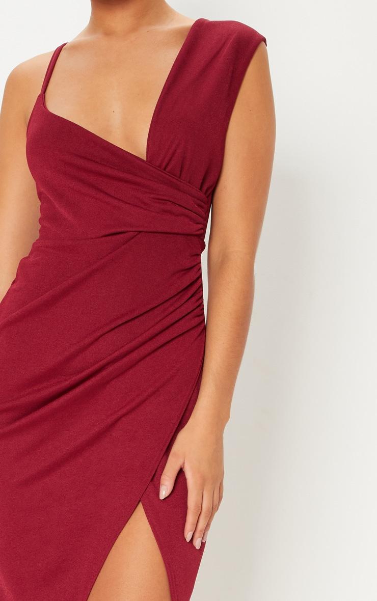 Burgundy Asymmetric Sleeve Ruched Midi Dress 5