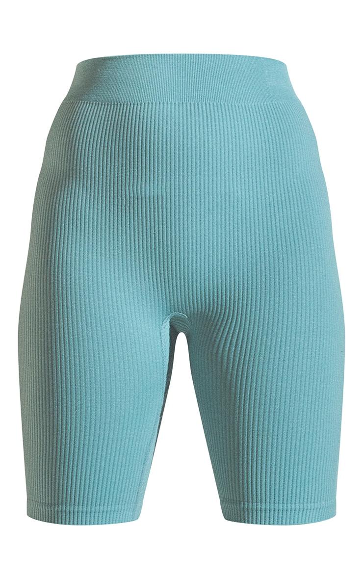 Washed Green Structured Contour Rib Bike Shorts 6