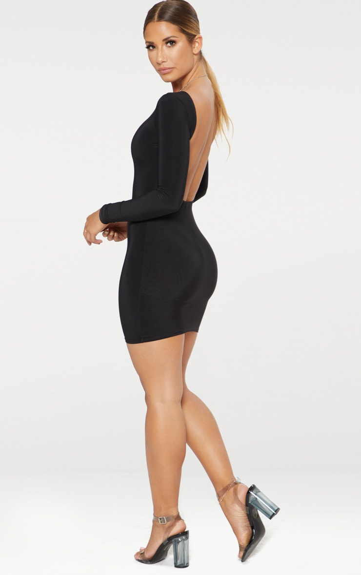 Black Second Skin Slinky Scoop Back Bodycon Dress 3