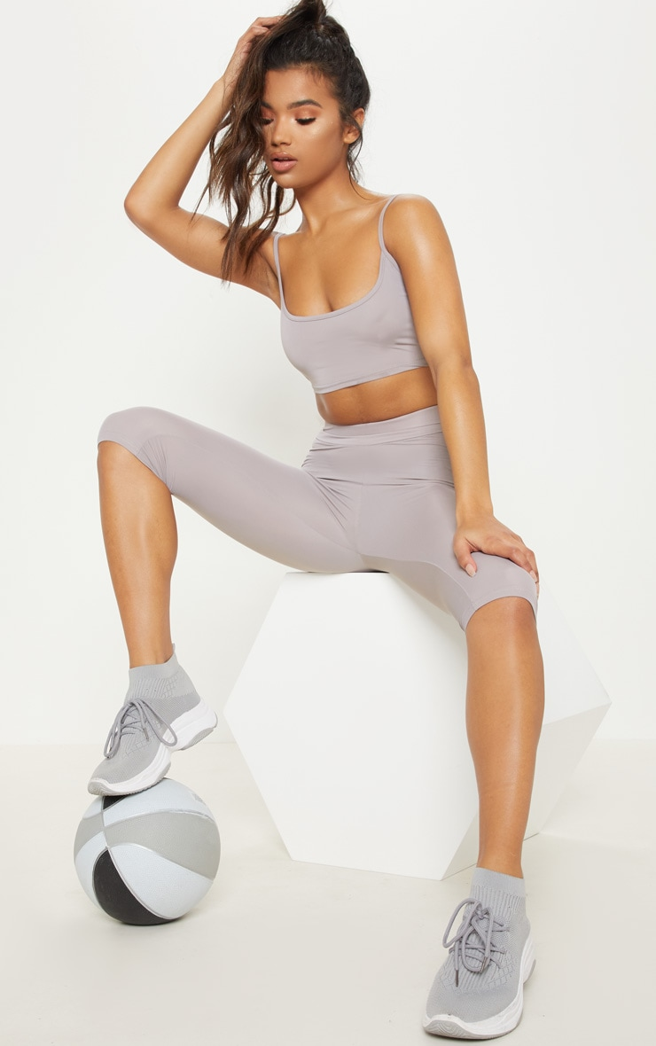 Grey Basic Gym Crop Top 4