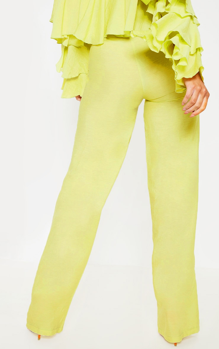 Lime Woven High Waisted Wide Leg Pants 4