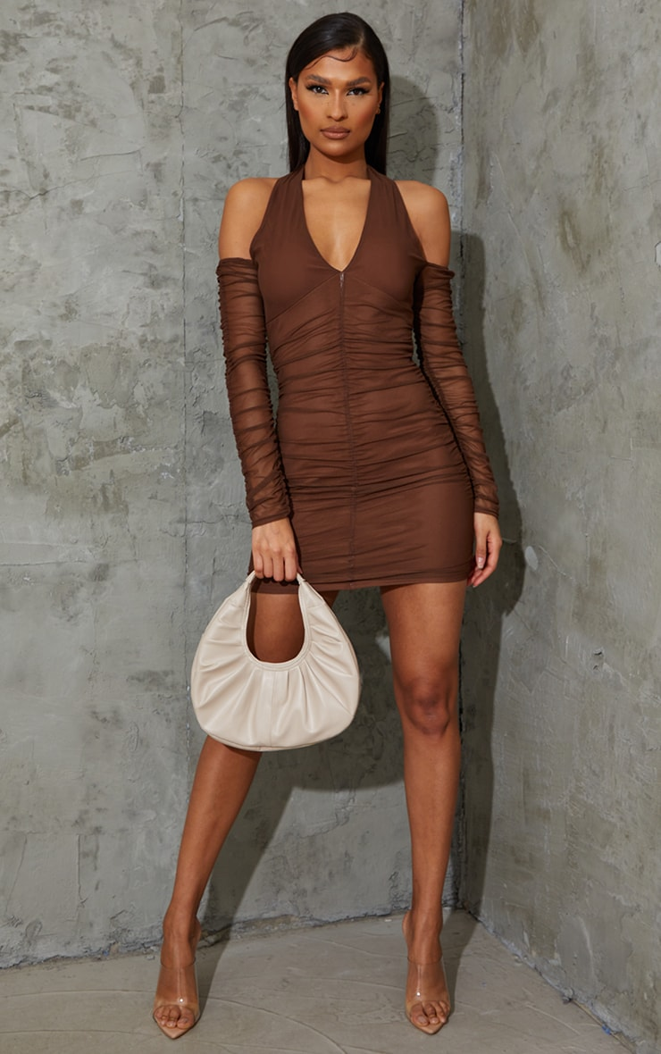 Chocolate Halterneck Long Sleeve Mesh Ruched Bodycon Dress 3