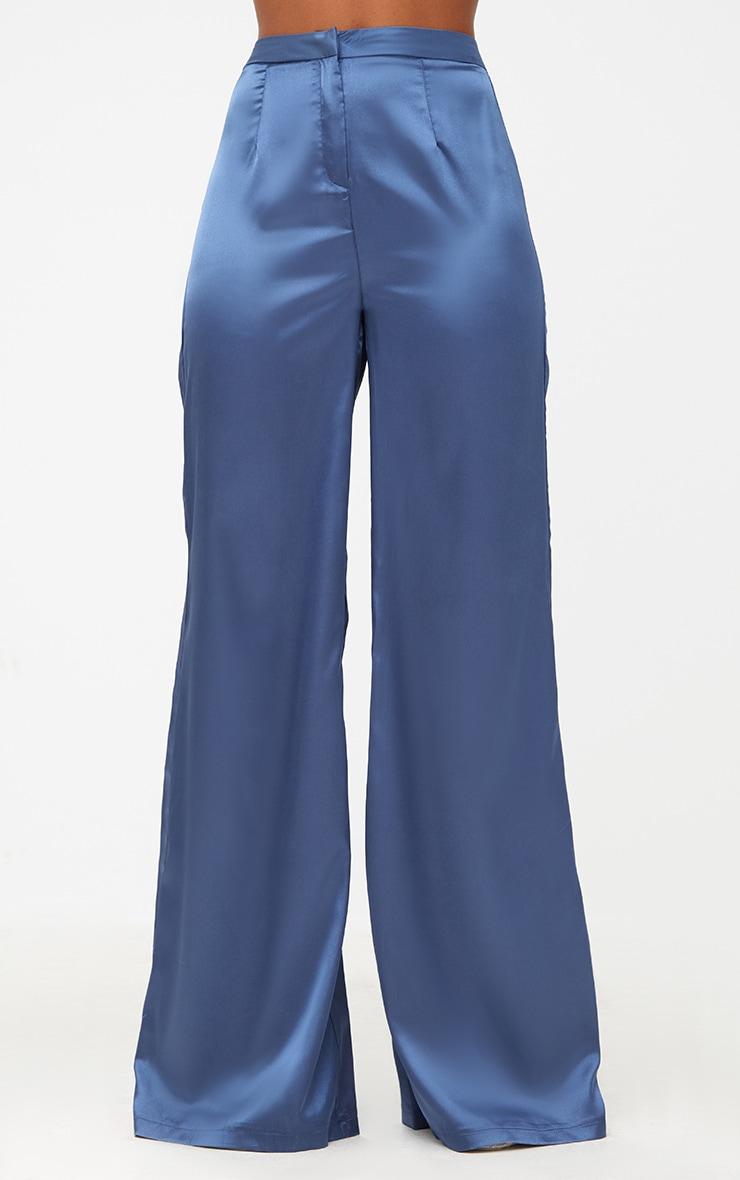 Blue Satin Wide Leg Trousers 2