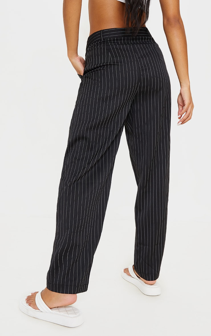 Black Pinstripe Woven High Waisted Trousers 3