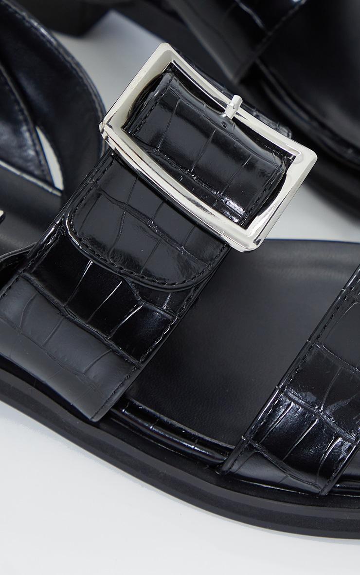 Sandales plates noires effet croco à boucles 3