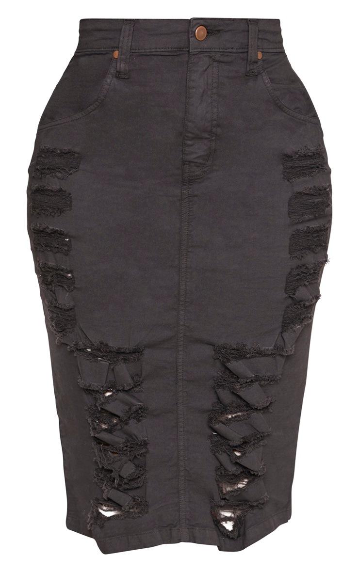 Shape - Jupe mi-longue en jean gris anthracite à détail déchiré 3