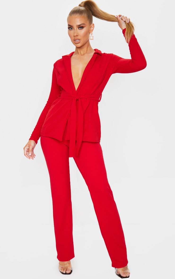 Red Straight Leg Suit Pants 1