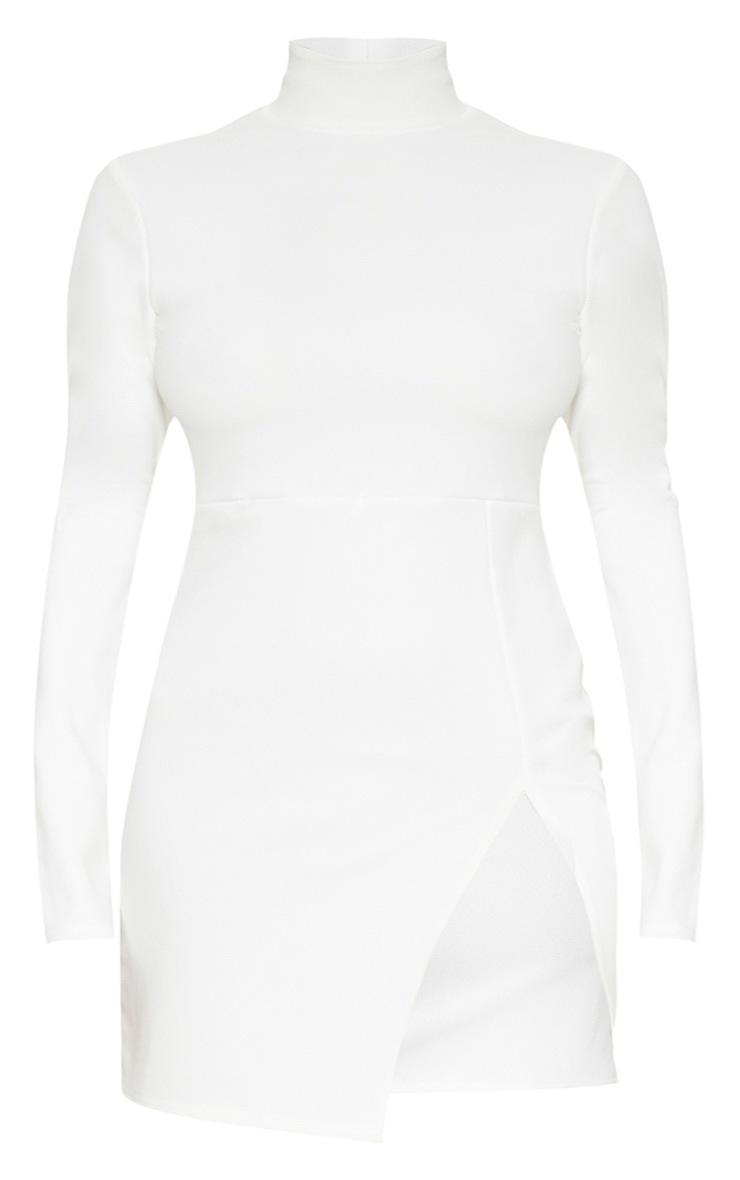 Plus White Shoulder Pad High Neck Bodycon Dress 3