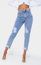 PRETTYLITTLETHING Vintage Wash Raw Hem Knee Rip Slim Fit Mom Jean 2