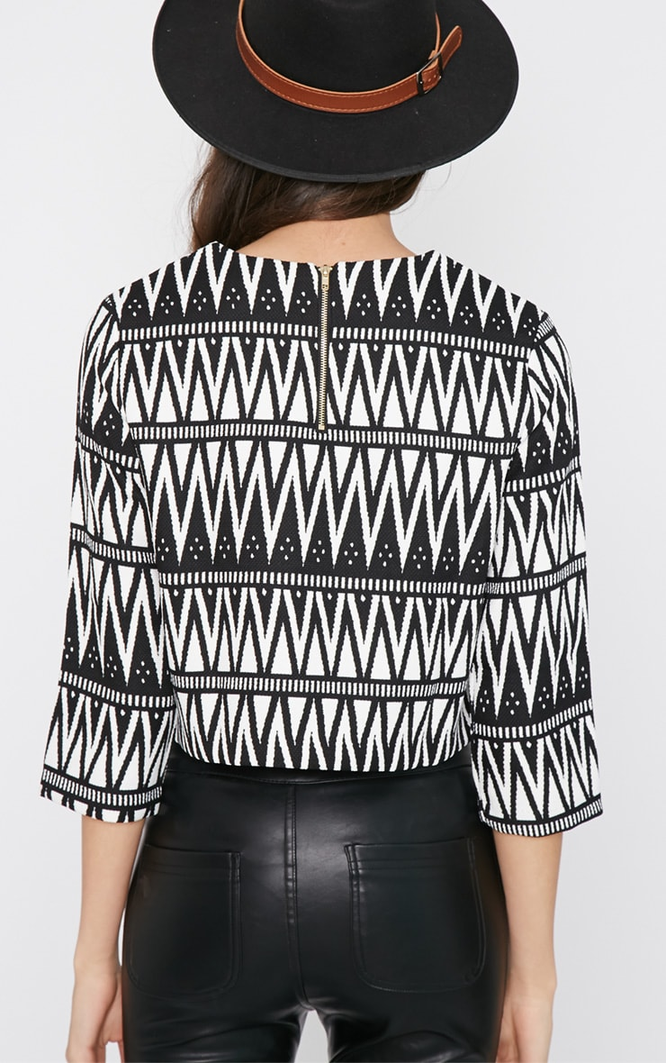 Clemence Monochrome Aztec Crop Top  2