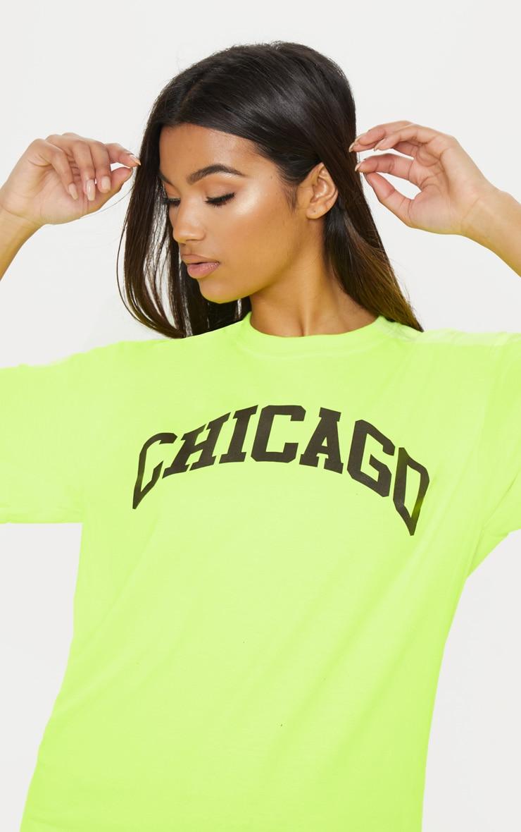 Tee-shirt jaune fluo à slogan Chicago 5