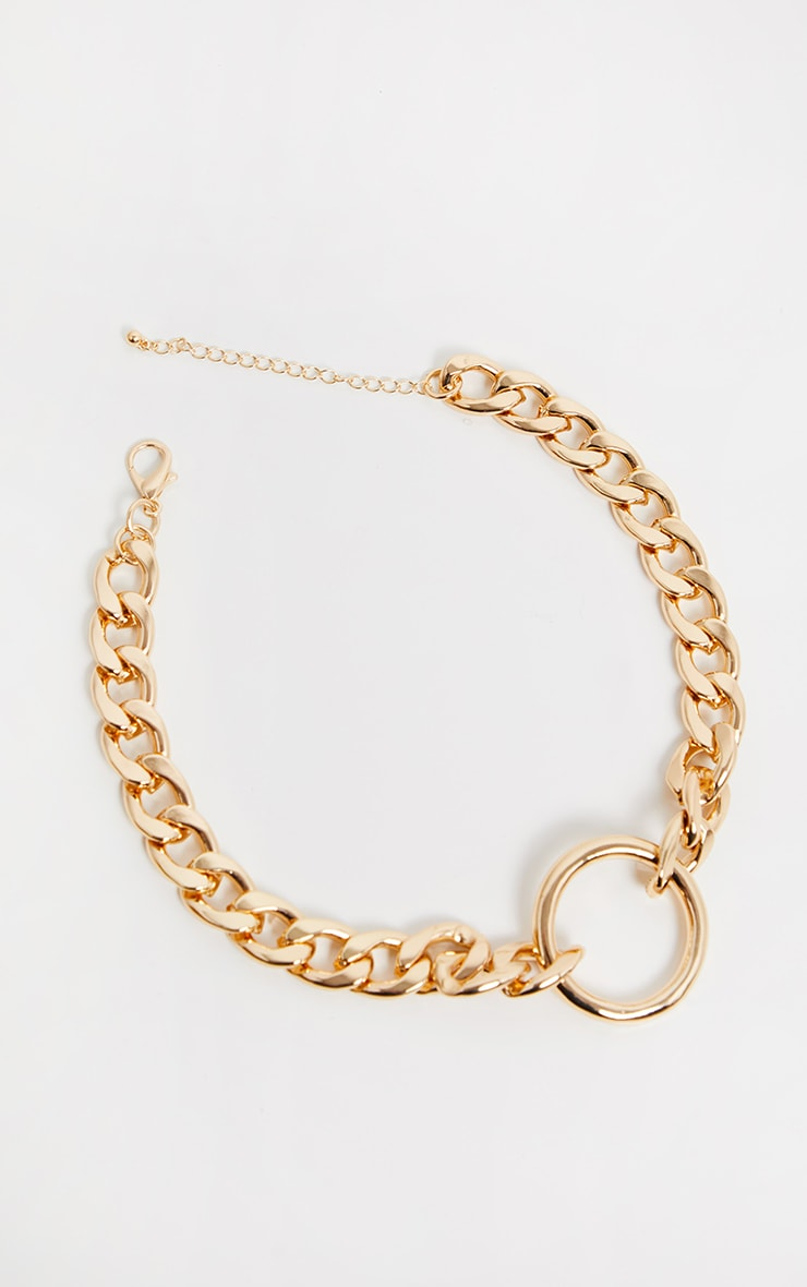 Gold Chunky Chain And Ring Choker 3