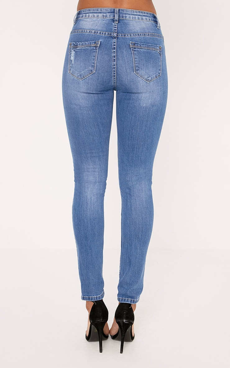 Sopheia Mid Wash Distressed Skinny Jean 4