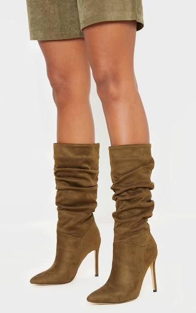 Khaki Point Slouch Calf Boot