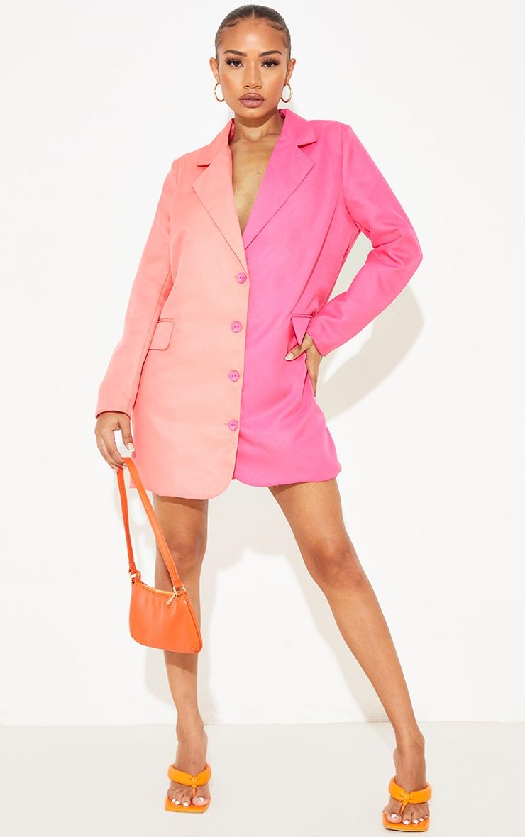 Petite Pink Contrast Oversized Blazer Dress 1