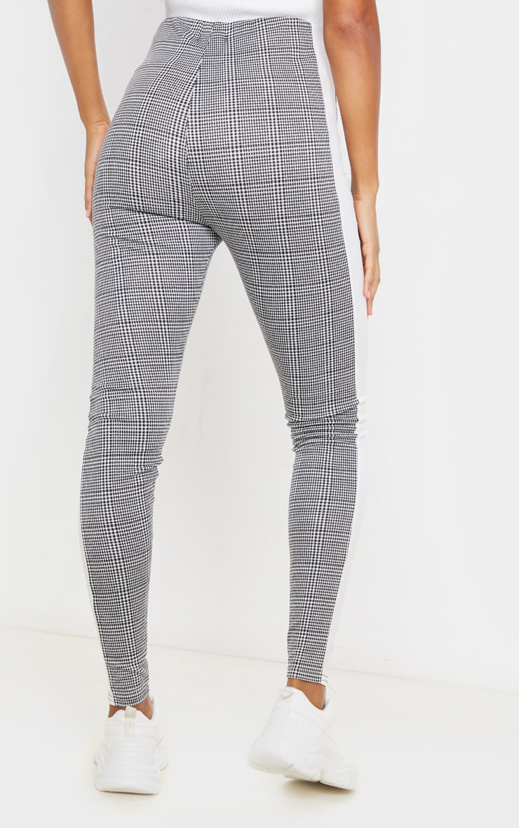 Black Checked Side Stripe Legging 4