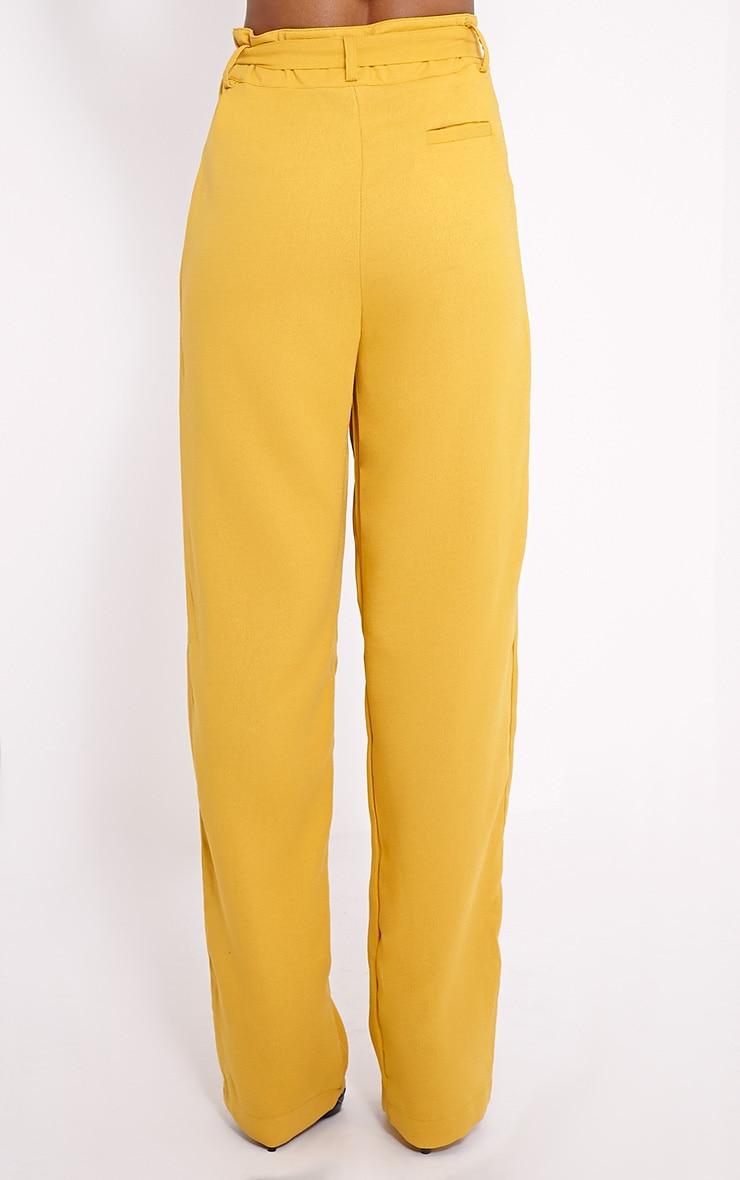 Elizabeth Mustard Wide Leg Crepe Trousers 4