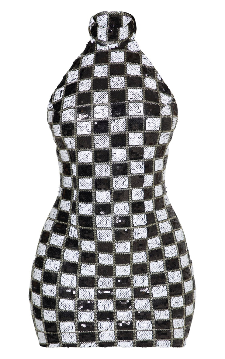 Black Checkerboard Sequin High Neck Low Back Bodycon Dress 3