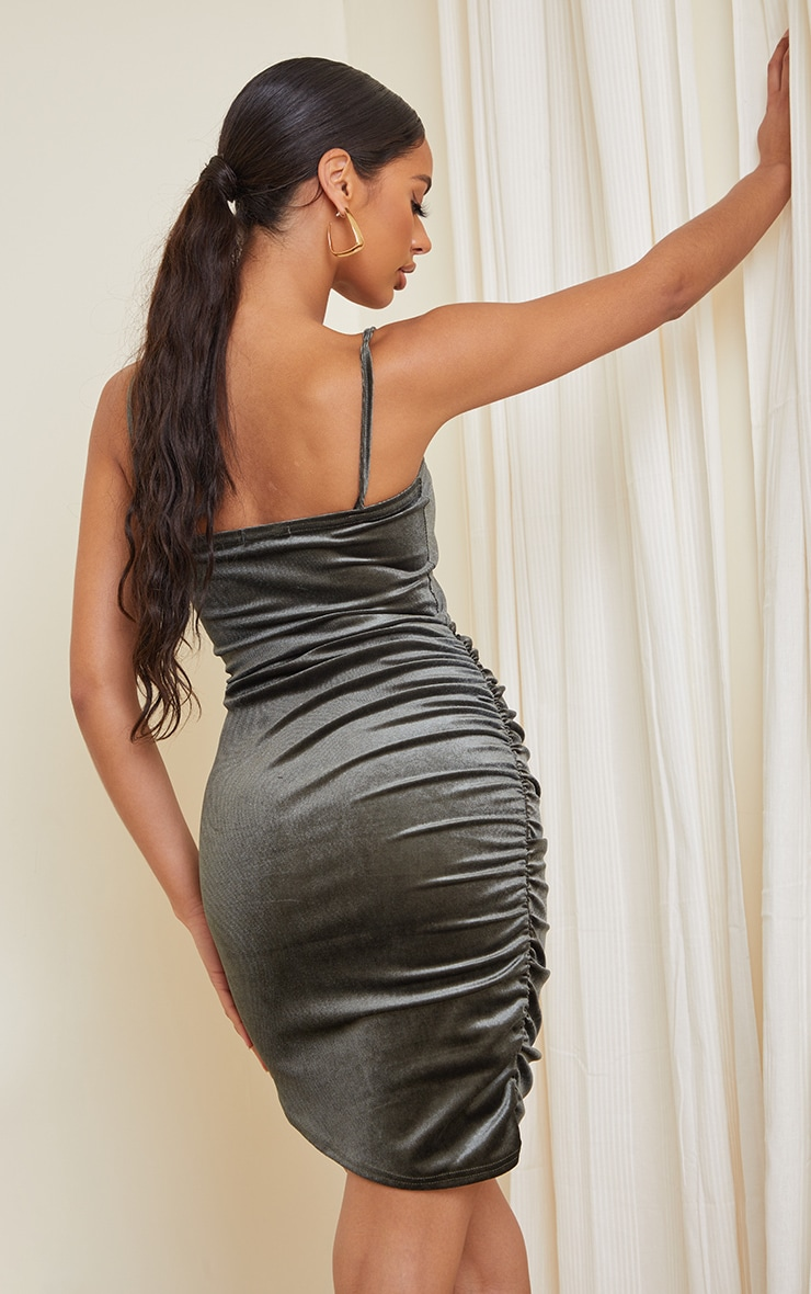 Olive Velvet Ruched Side Strappy Bodycon Dress 2