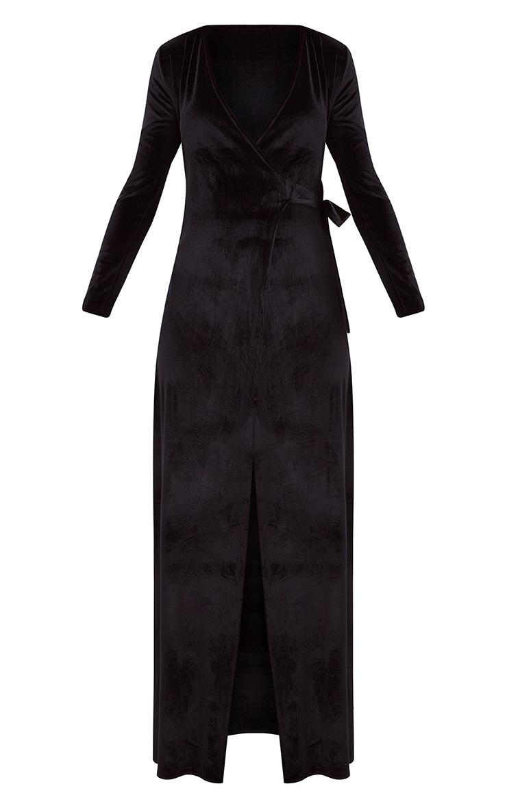 Black Velvet Wrap Kimono Style Maxi Dress 3