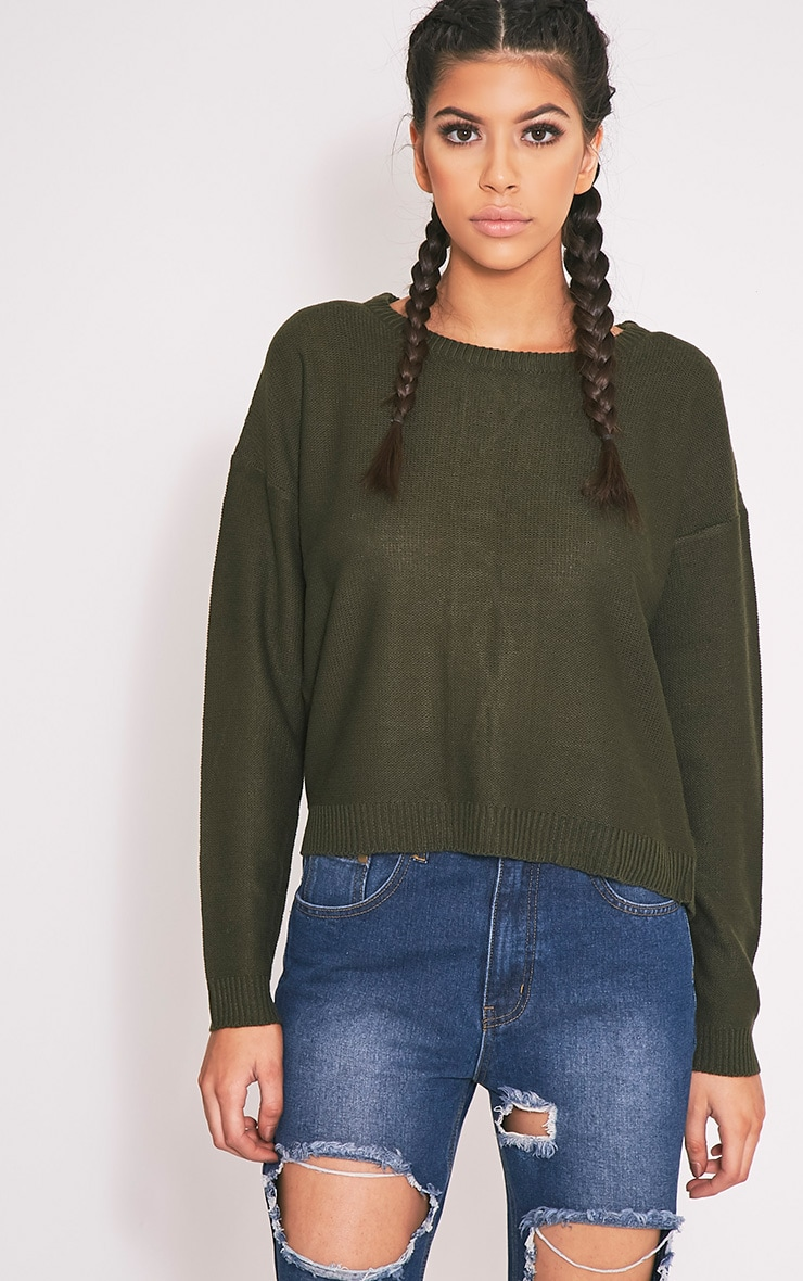Alissa Khaki Lace Up Back Knitted Jumper 3