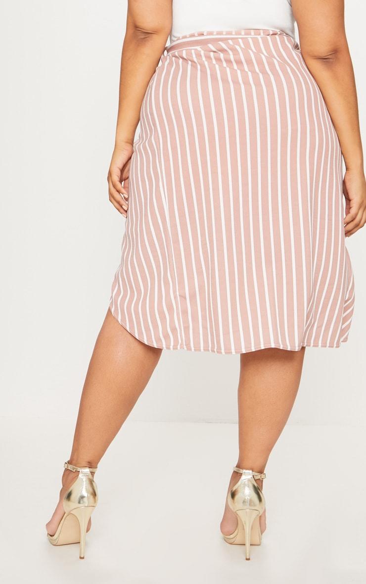 Plus Nude Striped Tie Waist Midi Skirt 4